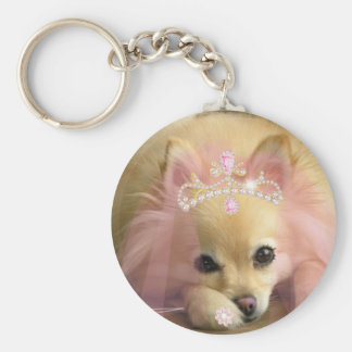 fairy princess dog with diamond crown basic round button keychain