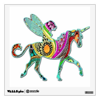 Fairy Riding a Unicorn Colorful Wall Decal