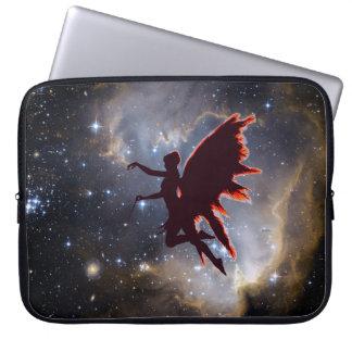 Fairy silhouette in a galaxy sky laptop sleeve