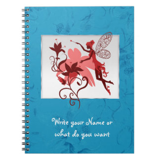 Fairy silhouette with flowers spiral note books