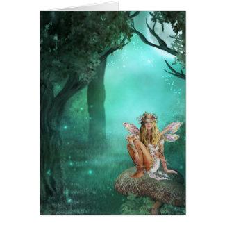 Fairy Sitting on a Mushroom Patch Greeting Card