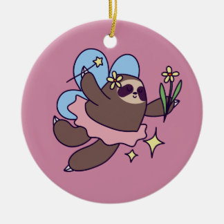 Fairy Sloth Ceramic Ornament