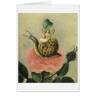 Fairy, Snail and Rose (Blank Inside) Card