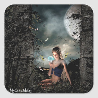 Fairy Staring at Magical Globe in Forest Square Sticker