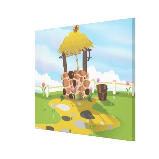Fairy Tail Well and Bucket Stretched Canvas Prints