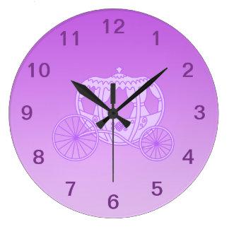 Fairy Tale Carriage in Purple. Large Clock