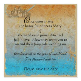 "Fairy Tale Castle Save the Date Card 5.25"" Square Invitation Card"