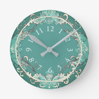 Fairy-tale-Classic-Teal (c) Med-Size Round Clock