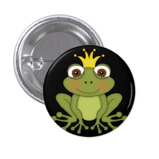 Fairy Tale Frog Prince with Crown 1 Inch Round Button