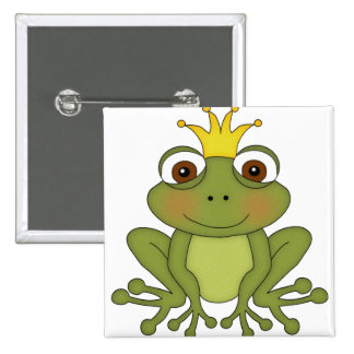 Fairy Tale Frog Prince with Crown 2 Inch Square Button