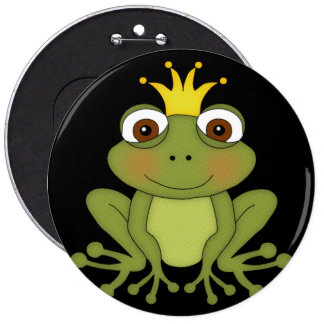 Fairy Tale Frog Prince with Crown 6 Inch Round Button