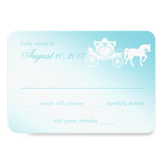 "Fairy Tale Horse and Carriage Wedding 3.5"" X 5"" Invitation Card"