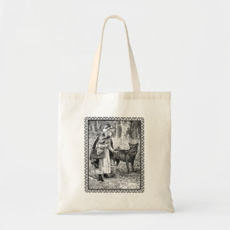 Fairy Tale Illustration of Red Riding Hood Wolf Tote Bag