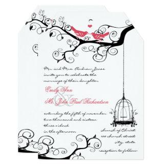 Fairy Tale Love Bird Pink Yarrow Wedding Invite