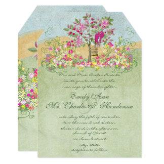 Fairy Tale Pink Green Floral Lovebird Tree Wedding Card