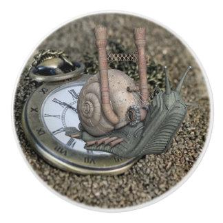 Fairy Tale Snail and Pocket watch Steam Punk Knob Ceramic Knob