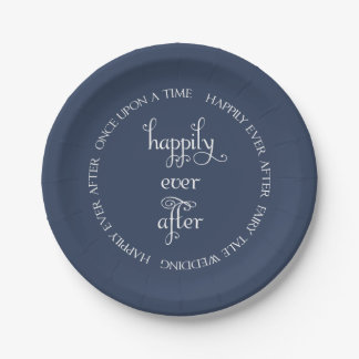 Fairy Tale Wedding Happily Navy Blue Paper Plate 7 Inch Paper Plate