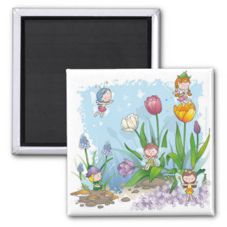Fairy tale world 3 square magnet