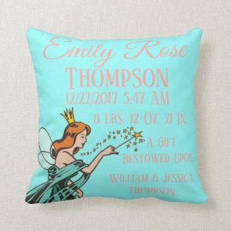 Fairy Tales Princess Godmother Magical Birth Stats Throw Pillow