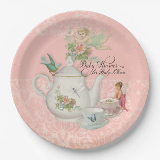 Fairy Tea Party Baby Shower Decor Personalized 9 Inch Paper Plate