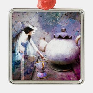 FAIRY TEA Silver-Colored SQUARE ORNAMENT