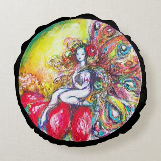 FAIRY TITANIA AND RED FLOWER Yellow Pink Sparkles Round Pillow
