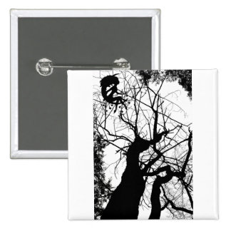 FAIRY WEBBY TREE B&W 2 INCH SQUARE BUTTON
