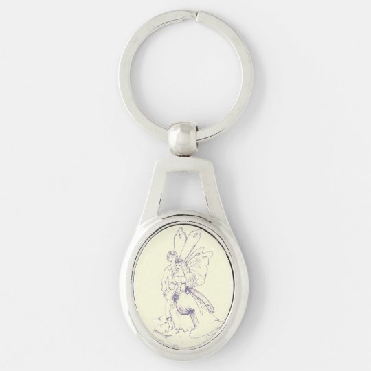 Fairy Wedding Silver-Colored Oval Keychain