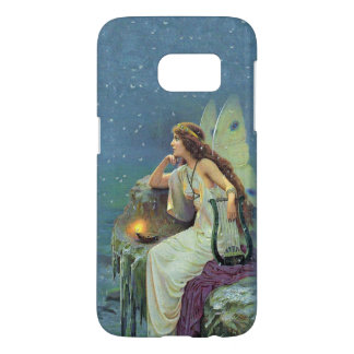 Fairy White Dress Sitting on Cliff Harp Candle Samsung Galaxy S7 Case