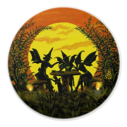 Fairy witches at a tea party knobs ceramic knob