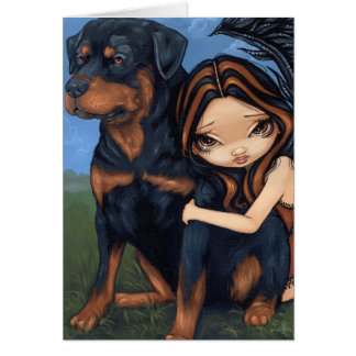 """Fairy with a Rottweiler"" Greeting Card"