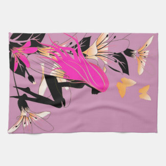 Fairy with Flowers & Butterflies in Lilac Kitchen Towel