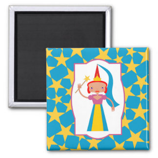Fairy with magic wand square magnet