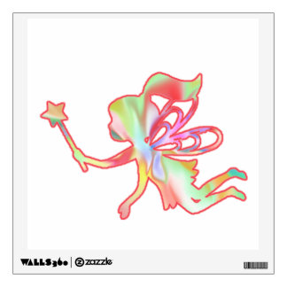 Fairy With Ponytail Flying With Magic Wand Wall Decal