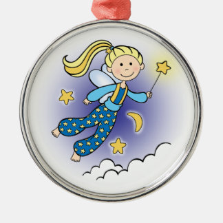 Fairy with Stars Metal Ornament
