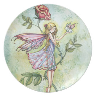Fairy with Tiny Easter Bunny Fantasy Art Dinner Plate