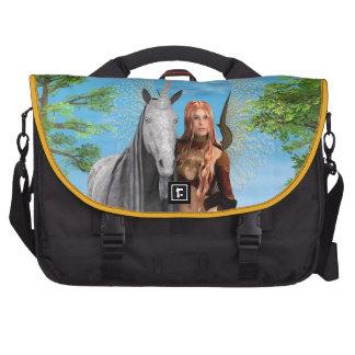 Fairy with Unicorn Laptop Messenger Bag