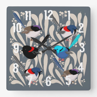 Fairy Wrens Square Wall Clock