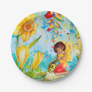 Fairy & Yellow Ladybug Cake Birthday Party Plates 7 Inch Paper Plate