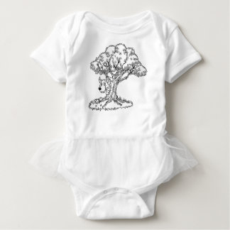Fairytale Big Bad Wolf and Tree Cartoon Baby Bodysuit