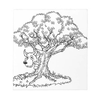 Fairytale Big Bad Wolf and Tree Cartoon Notepad
