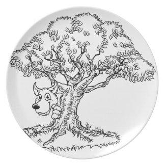 Fairytale Big Bad Wolf and Tree Cartoon Plate