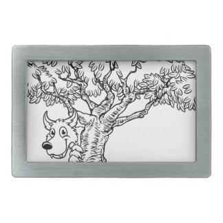 Fairytale Big Bad Wolf and Tree Cartoon Rectangular Belt Buckle