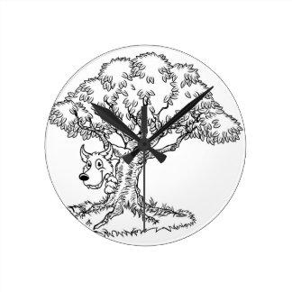 Fairytale Big Bad Wolf and Tree Cartoon Round Clock