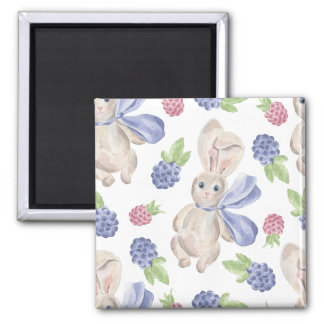Fairytale Bunny Rabbit with Florals Pattern Magnet