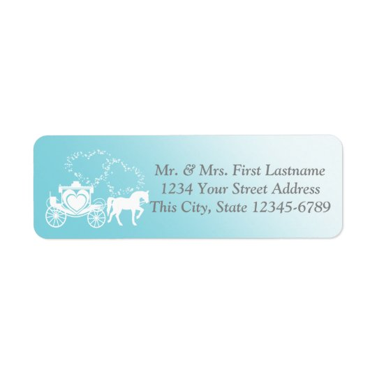 Fairytale Carriage and Hearts Return Address Label