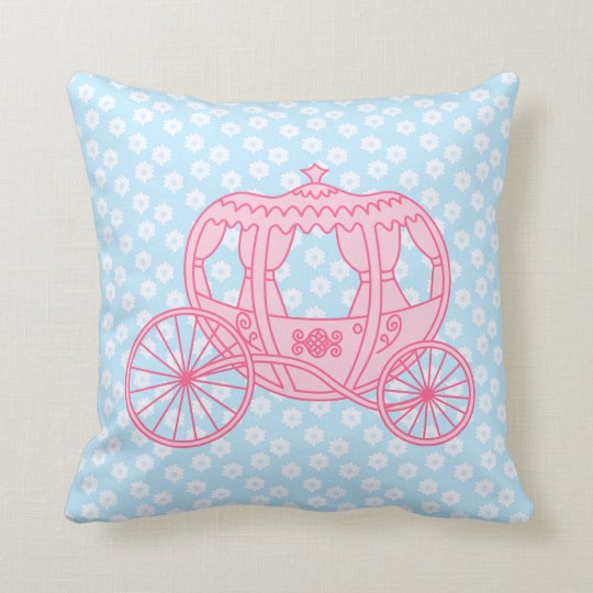 Fairytale Carriage Design in Pink and Blue. Throw Pillow
