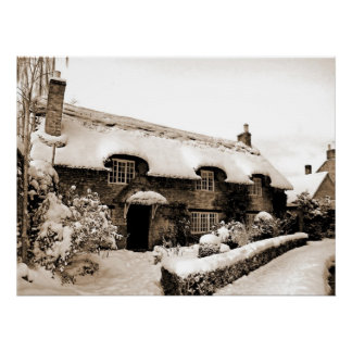 Fairytale Cottage in Winter Poster