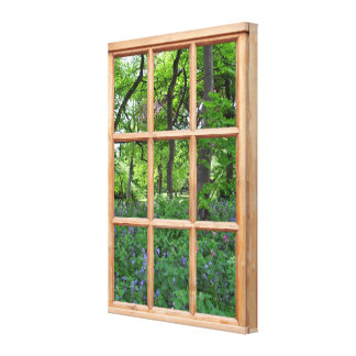 Fairytale Garden 3D Effect Window View Picture Canvas Print