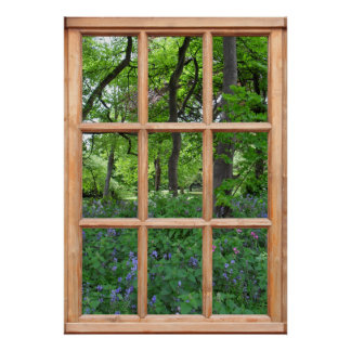 Fairytale Garden View from a Window (Premium) Poster